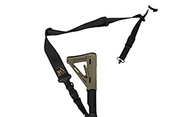 "S2Delta - USA Made 2 Point Rifle Sling, Quick Adjustment, Modular Attachment Connections, Comfortable 2"" Wide Shoulder Strap to 1"" Attachment Ends (Black with Push Button Swivels)"