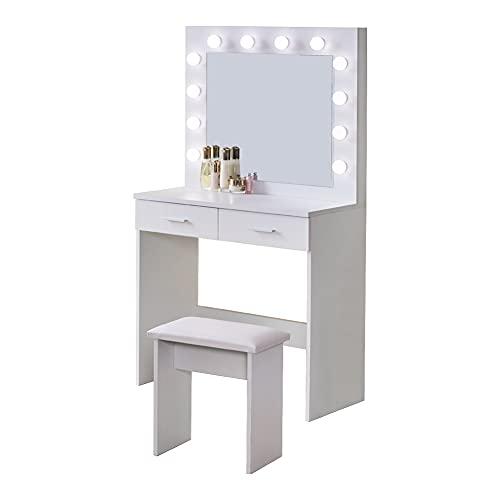 OFCASA Blanco Tocador Mesa de Maquillaje con Luces LED Moderno Hollywood Espejo Tocador con 2 Cajones Tocador y Taburete para Dormitorio