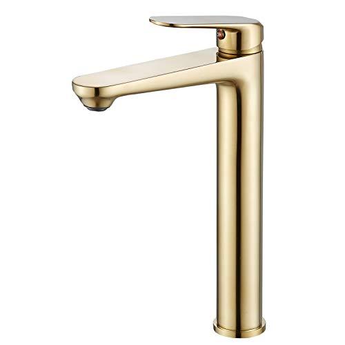 Badezimmer Waschtischarmatur Waschtisch-Mischbatterie Hoher Körper, Waschbeckenarmaturen Monoblock-Wasserhahn mit einem Hebel, Goldener Gebürstet, Beelee BL6697BGH