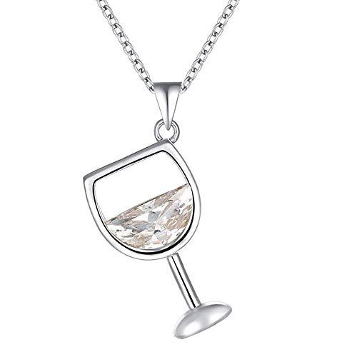 Vektenxi Neue Weinglas Anhänger Zirkonia Lange Kette Halskette Schmuck - White Golden Durable und nützlich