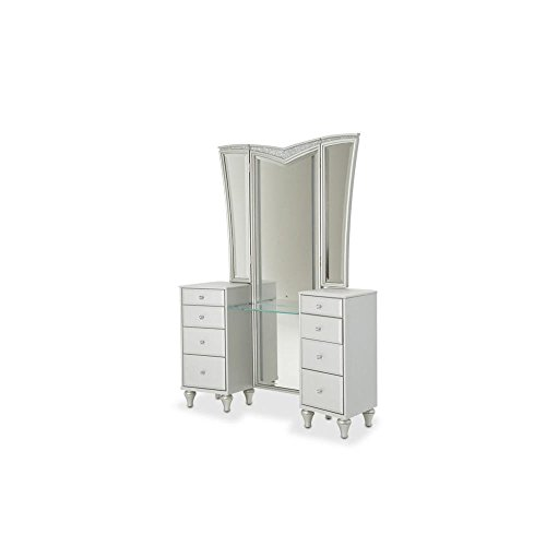 Why Should You Buy Aico Amini Melrose Plaza 3 Piece Upholstered Vanity, Mirror & Bench Set in Dove G...