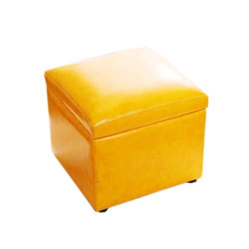 Simple Carré Banc De Banc En Cuir Artificiel Rangement Siège Canapé Repos Salon Balcon Couloir 4 Couleur En Option 41 cm * 42 cm * 38 cm (Couleur : Le jaune)