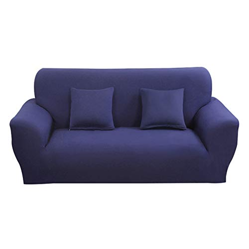 Hotniu Funda Elástica de Sofá Funda de Color Liso para sofá Antideslizante Protector Cubierta de Moda (Tres Plazas, Marino)