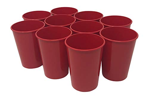CSBD Stadium 12 oz Plastic Cups 10 Pack Blank Reusable Drink Tumblers for Parties Events Marketing Weddings DIY Projects or BBQ Picnics No BPA Red