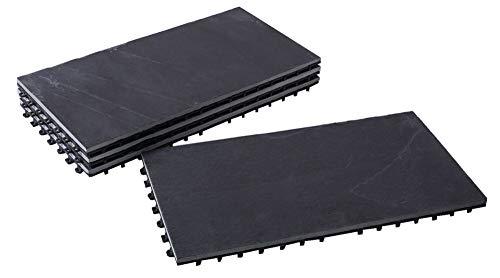 BodenMax® LLSLA001-BLK-3060 Schiefer-classic 30x60cmClick Bodenfliesen Terassenfliesen Terassenplatte Stein Fliese KlickfliesenBalkonfliesen Innenbereich Außenbereich grauschwarz (4 Stück)