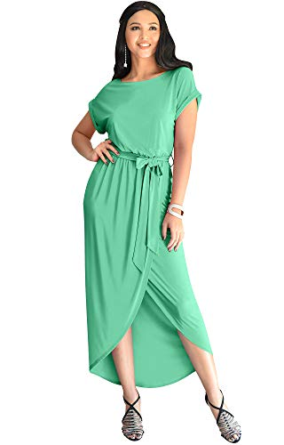 KOH KOH Plus Size Womens Long Crewneck Casual Short Cap Sleeve Sexy Slit Split Pencil Skirt Beach Spring Summer Gown Gowns Solid Stretchy Modest Maxi Midi Dress Dresses, Light Emerald Green 3XL 22-24