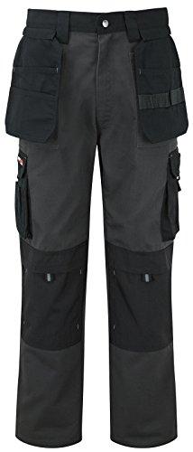 Tuff Stuff - Pantaloni da lavoro estremi in cordura con taschine per ginocchiere, resistenti, per adulti, colore grigio, nero, pietra, blu navy, lunghezza gamba 90-140 cm Grigio/nero 40
