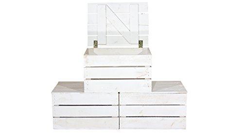 Vinterior 3er Set Neue Holztruhe weiß *Klein* - Holzkiste Obstkiste Truhe aus Holz Wäschetruhe Spielzeugtruhe Holzbox Shabby Look 48x36x28cm