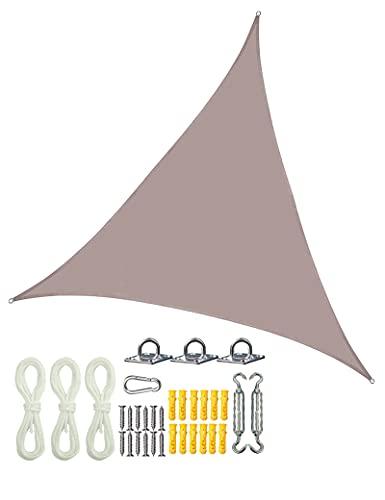 gfdfrg 2.4x2.4x2.4m Vela de Sombra,Vela de Sombra Triángulo Toldo Vela Patio Shack Toldo,protección Rayos UV,con Cuerdas y Kit de Montaje de Acero Inoxidable,para Patio, Exteriores, Jardín