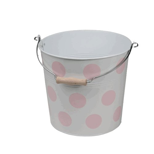 Organize It All Pink Polka-Dot Round Metal Bucket with Wood Grip Handles