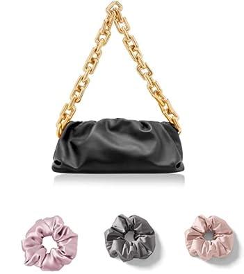 KIYUU Bottega Chain Shoulder Bag with Zipper Closure for Women