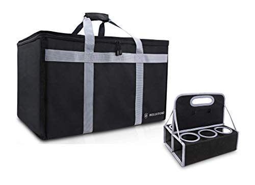 "BELLEFORD Insulated Food Delivery Bag + Cup Carrier COMBO XXL - 23x14x15"" Waterproof Grocery Storage [Warm & Cool] - Lunch Buffet Server, Warming Tray, Pizza Box, Chafing Dish + Drink Carrying Case"