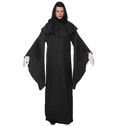 MasteriOne Halloween Schwarz Robe Kürbis Hexe Cosplay Gast Ghost Schicke Party Halloween deko,Frauen Mann Halloween Reine Farbe Party Kostüm Cosplay Paare Kleid