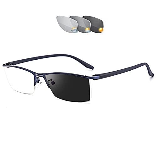 HAOXUAN Gafas de Lectura fotocromáticas, Medio Marco metálico de Moda, Lector Unisex Ligero y cómodo, Gafas de Sol para Exteriores, dioptrías de +1,00 a +3,00,Azul,+1.00