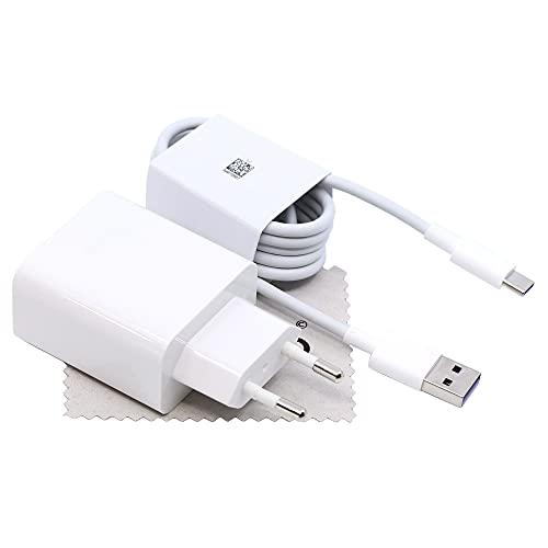 Ladegerät für Original Huawei CP84 4A 40W für Huawei P30, P30 Pro, P30 Lite, Mate 20, Mate 20 Pro, Mate 20 Lite Schnell Ladekabel Super Charge Netzteil mit mungoo Displayputztuch