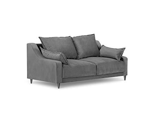 Mazzini Sofas - Sofá de terciopelo, color lila, 2 plazas, gris claro, 150 x 94 x 90 cm