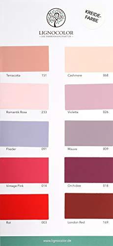 Lignocolor Old Shabby Chic Farbtonkarte EINZELN Echtaufstriche nach Farben sortiert (Rottöne)