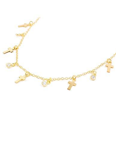 Collar Plata Dorada mini cruces con circonitas
