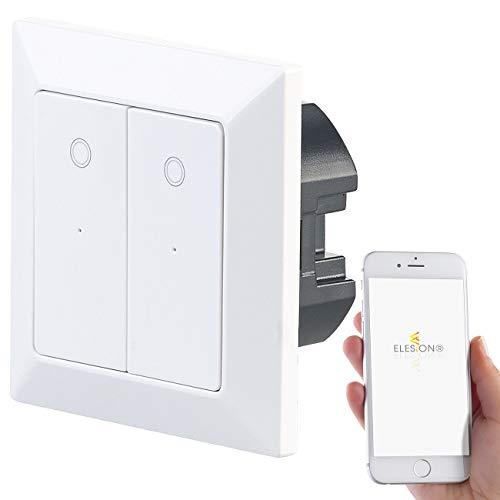 Luminea Home Control Schalter: Doppel-Lichttaster mit WLAN, App, für Siri, Alexa & Google Assistant (Elesion Schalter)