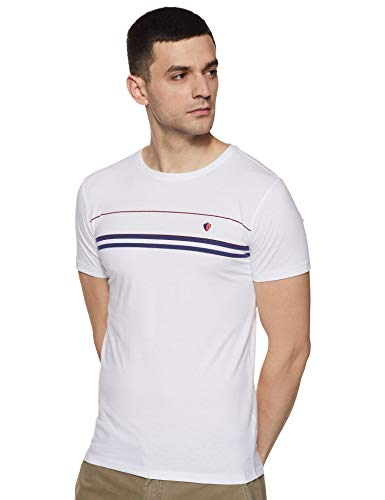Elements by Peter England Men's Printed Slim fit T-Shirt (PAKCCSGF692362_White L)