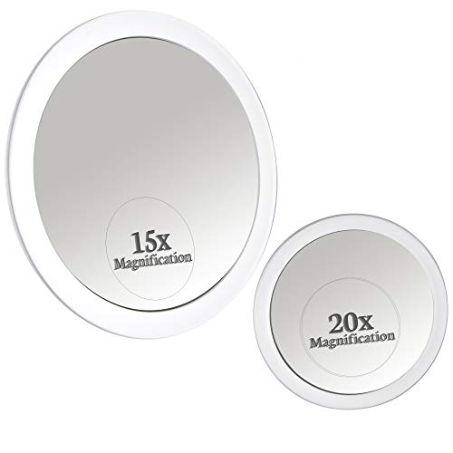 Mirrorvana Espejo Aumento 15X y 20X con Ventosa (x15 & x20 Magnification Spot Suction Mirrors)