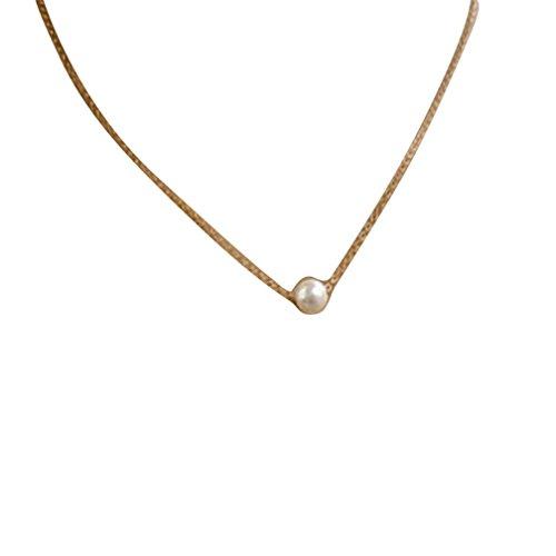 Kstare Clearance Necklace, Women Fashion Simple Imitate Pearl Bib Choker Statement Collar Necklace (Gold)