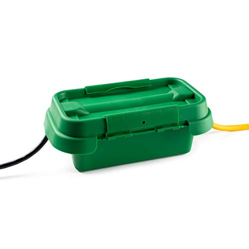 SOCKiTBOX – The Original Weatherproof Connection Box – Indoor & Outdoor Electrical Power Cord Enclosure for Timers, Extension Cables, Holiday Lights, Power Tools, Fountains & More – Size Small – Green