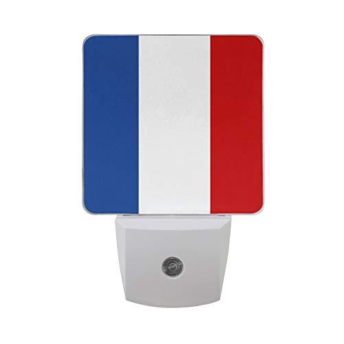 AOTISO Frankreich Flagge Patriotische Französisch Symbol Auto Sensor Nachtlicht Plug in Indoor