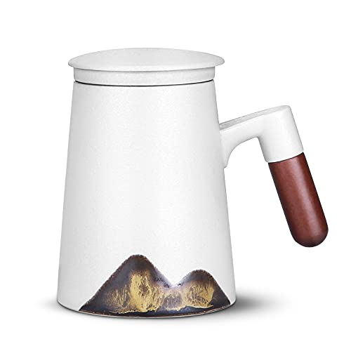 WILDKEN 440ml Tea Cup with Lid and Infuser for Steeping Ceramic Tea Mug with Rosewood Handle or Home, Restaurants, Display & Holiday Gift(White)