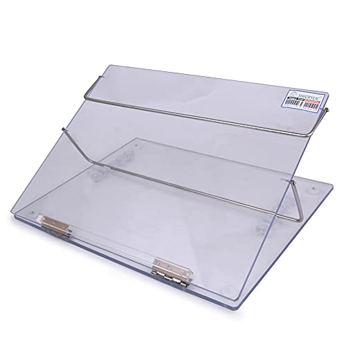Shicrylic Polystyrene Clear Transparent Table Top Elevator Adjustable Height Writing Desk Easy Reading Desk Portable Book Reading Stand (Small Size 15x12 Inches) 7MM Polystyrene