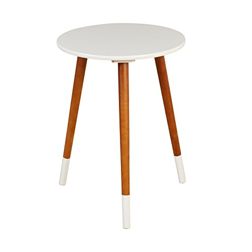 Target Marketing Systems Livia Collection Ultra Modern Round End Table With Splayed Leg Finish, White/Wood