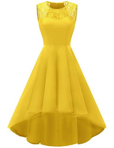 Vestido amarillo de falda holgada para fiesta, cócteles y bodas