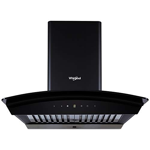 Whirlpool 60 cm 1100 m³/HR Auto-Clean Curved Glass Kitchen Chimney (CG 601 HAC HOOD, Baffle Filter, Touch Control, Black)
