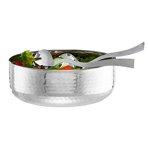 Relaxdays Salatschüssel Set, 3-teilig mit Salatbesteck 30 cm, Edelstahl, spülmaschinenfest, runde Schale ∅ 28 cm, silber
