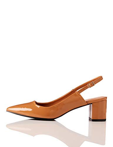 find. Block Heel Point Toe Slingback Pumps, Braun Caramel), 38 EU