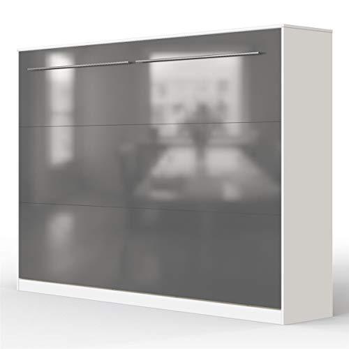 SMARTBett Standard Cama abatible Cama Plegable Cama de Pared (Blanco/Antracita Brillante, 140 x 200 cm Horizontal)