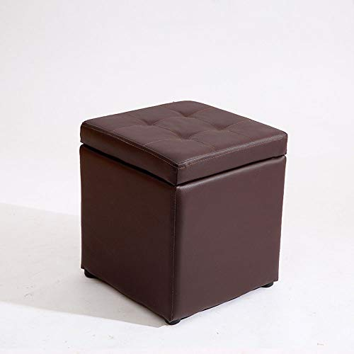 FLYFASH Storage Stool, Leather Stool, Soft Stool, Fashion Home With Lid Dressing Room Bedroom Square Stool Storage Box Wooden Pier Living Room (Color : Brown)