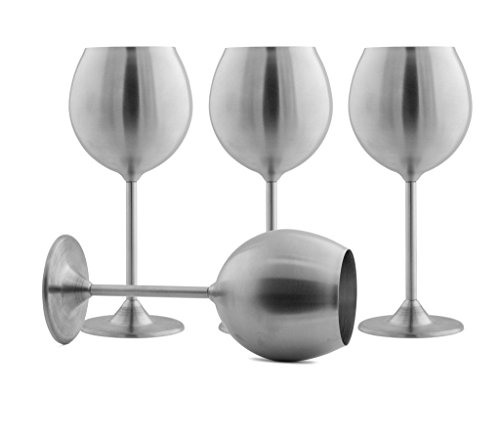 Modern Innovations Stainless Steel Wine Glasses, Set of 4, 12 Oz Stemmed Wine Glasses, Dishwasher Safe Unbreakable BPA Free Shatterproof SS Great for Daily, Formal, Indoor and Outdoor Use