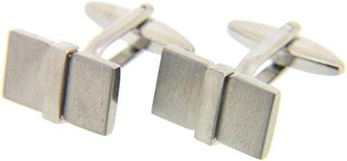 David Van Hagen Silver Rectangle 3D boutons de manchette de