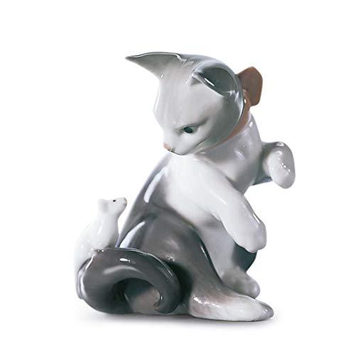 LLADRÓ Figur Katze Und Maus. Katze. Porzellan.