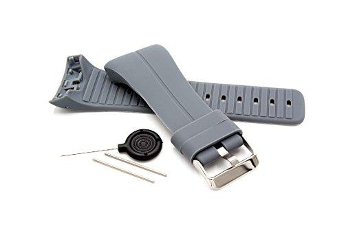 vhbw TPE Ersatz Armband kompatibel mit Polar M400, M430 Fitnessuhr, Smartwatch - 9.0 + 14.5 cm grau