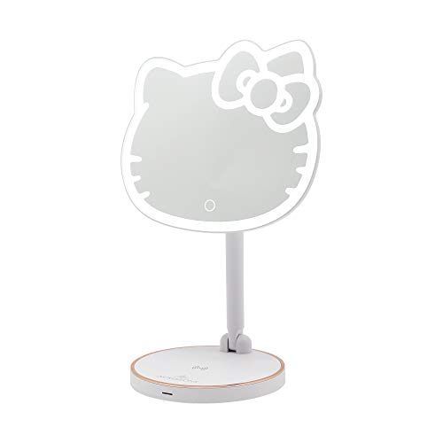 Impressions Hello Kitty LED Makeup Mirror with Adjustable Dimmer Light Sensor | Girl#039s Cute Lighted Makeup Vanity Mirror with USB Charging Port and Standing Base