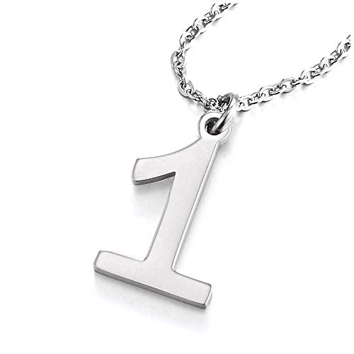 COOLSTEELANDBEYOND Womens Mens Stainless Steel Arabic Numerals Number 1 Pendant Necklace with Adjustable Rope Chain