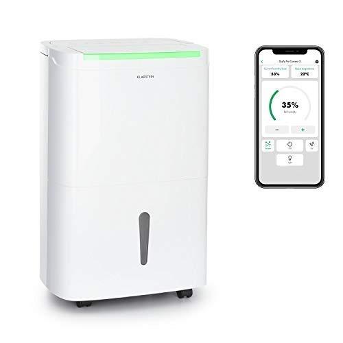 Klarstein DryFy Connect Luftentfeuchter Dehumidifier Kompressionsluftentfeuchter, WiFi-Schnittstelle, 230 m³ Luftumwälzung pro Stunde, Entfeuchtungsleistung 30 l pro Tag, weißes Designgehäuse