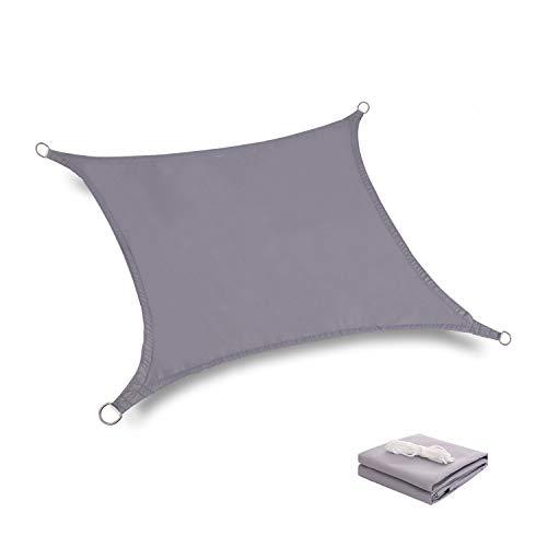 Tuosite Terylene Waterproof Sun Shade Sail UV Blocker Sunshade Patio Equilateral Square Knitted 220 GSM Block Fabric Pergola Carport Awning 10' x 10' in Color Grey