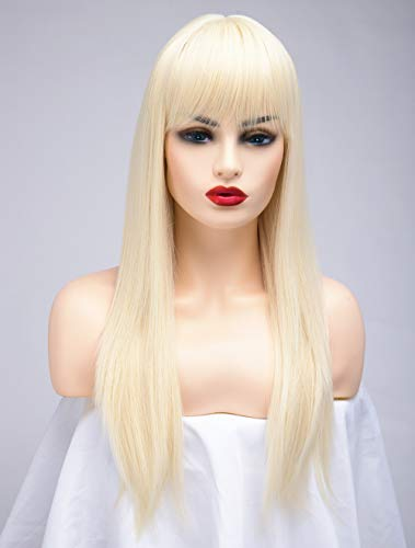 BESTUNG Lange Gerade Asche Blonde Perücken für Frauen Damen Synthetisches Volles Haar Natürliches Licht Honig Erdbeer Gold Perücke mit Pony für Cosplay Kostüm oder Alltag(EINWEG) (blond)