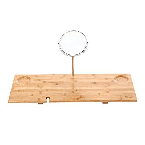 GJQDDP Bambus Bad Tisch, Badezubehör Tray Premium-Holz-Badezimmer-Zahnstange mit für Ipad/Tablet, Spiegel Weinglas Slots