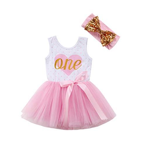 First Birthday Party Baby Toddler Girl Summer Sleeveless ONE Heart Tutu Dress Sequin Headband Princess Playwear Photo Prop