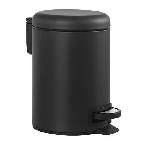 SONGMICS Mülleimer, Abfalleimer, 3 Liter, mit Pedal, Inneneimer aus Kunststoff, Softclose, geruchsdicht, schwarz, 22 x 16,7 x 25 cm