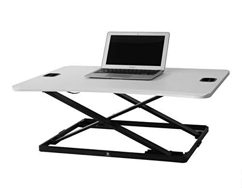 TechOrbits Height Adjustable Single Level Standing Desk - 31' Wide Sit to Stand Desk Converter Fully Assembled Standing Workstation Riser White